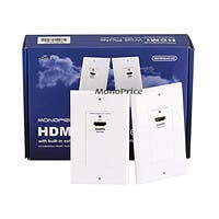 Monoprice HDMI Over Cat5e / Cat6 Extender Wall Plate (Pair), Single Port (1P), White