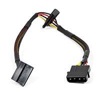 Monoprice 12inch 4pin MOLEX Male to (2) 15pin SATA II Female Power Cable (Net Jacket)