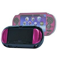 Monoprice PlayStation Vita Brushed Aluminum Clamshell Protective Case - Fuschia
