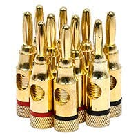 Monoprice 5 PAIRS OF High-Quality Gold Plated Speaker Banana Plugs, Open Screw Type