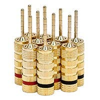 Monoprice 5 PAIRS OF High-Quality Gold Plated Speaker Pin Plugs, Pin Screw Type