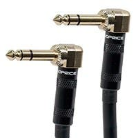 1.5ft Premier Series 1/4-inch (TRS) Male Right Angle to Male Right Angle 16AWG Cable (Gold Plated)