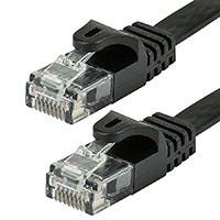 Monoprice Cat5e Ethernet Patch Cable - Snagless RJ45, Flat,Stranded, 350Mhz, UTP, Pure Bare Copper Wire, 30AWG, 5ft, Black