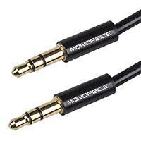 Monoprice 3ft Coiled 3.5mm Male To 3.5mm Male Stereo Audio Cable - Black
