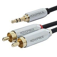 Monoprice 6ft Designed for Mobile 3.5mm Stereo Male to RCA Stereo Male (Gold Plated) - Black