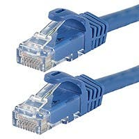 Monoprice Flexboot Cat6 Ethernet Patch Cable - Snagless RJ45, Stranded, 550Mhz, UTP, Pure Bare Copper Wire, 24AWG, 10ft, Blue