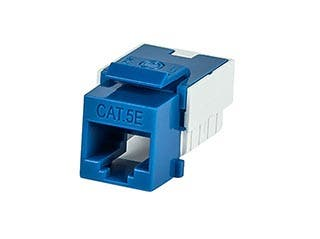 Product Image for Slim Cat5E Punch Down Keystone Jack - Blue