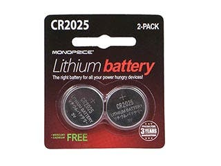 Product Image for Monoprice Lithium CR2025 3V Battery 2-Pack