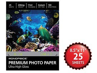 Product Image for Monoprice 8.5x11 Premium Photo Paper- Ultra High Gloss (25 sheets)