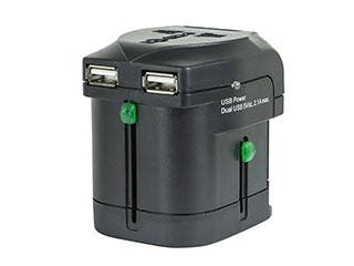 Product Image for Compact Cube2 Universal Travel Adapter with Dual USB Charge Ports - Black