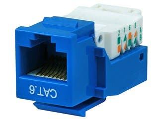 Product Image for Cat6 RJ-45 Toolless Keystone - Blue