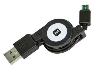 Product Image for USB 2.0 Retractable Cable - A Male to Micro B Male - 2.5 Ft