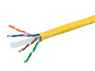 Product Image for 1000FT Cat6 Bulk Bare Cable Copper Ethernet Cable, UTP, Solid, Riser Rated (CMR), 350MHz, 23AWG - Yellow - No Logo