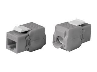 Product Image for Cat6 RJ-45 Toolless 180-Degree Keystone, Gray