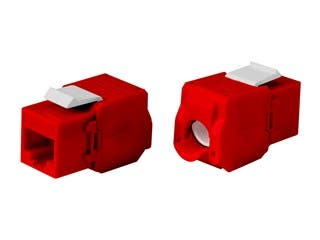 Product Image for Cat6A RJ-45 Toolless 180-Degree Keystone, Red