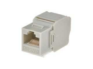 Product Image for Cat6A RJ-45 Toolless 180-Degree Keystone, Gray