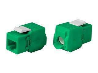 Product Image for Cat6A RJ-45 Toolless 180-Degree Keystone, Green