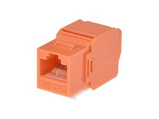 Product Image for Cat6A RJ-45 Toolless 180-Degree Keystone, Orange