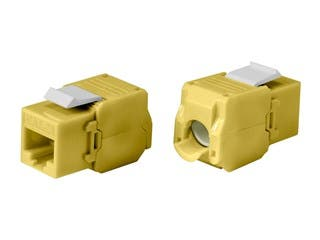 Product Image for Cat6A RJ-45 Toolless 180-Degree Keystone, Yellow