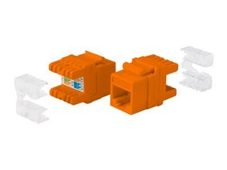 Product Image for Cat5e RJ-45 Punch Down 180-Degree Short Body 28mm Keystone, Orange