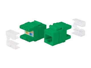 Product Image for Cat5e RJ-45 Punch Down 180-Degree Short Body 28mm Keystone, Green