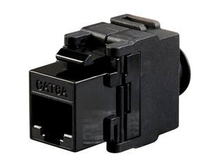 Product Image for Cat6A RJ-45 Toolless Snap Back 180-Degree Keystone, Black