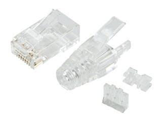Product Image for Monoprice SlimRun Cat6 Modular Plug with Strain Relief, 100-pack, for use with SlimRun Cat6 28AWG bulk networking cables