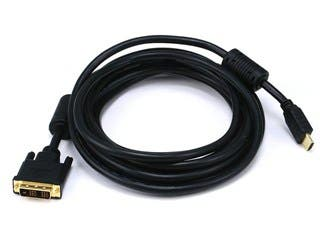 Product Image for Monoprice 15ft 28AWG Standard HDMI to DVI Adapter Cable with Ferrite Cores, Black