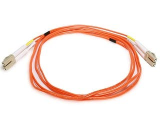 Product Image for Fiber Optic Cable - LC to LC, OM1, 62.5/125 Type, Multi Mode, Duplex, Orange, 2m