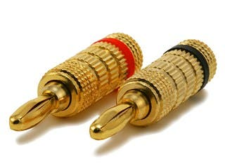 Product Image for Monoprice 1 PAIR OF High-Quality Gold Plated Speaker Banana Plugs, Closed Screw Type