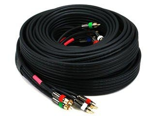 Product Image for Monoprice 35ft 18AWG CL2 Premium 5-RCA Component Video/Audio Coaxial Cable (RG-6/U) - Black