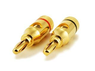 Product Image for 1 PAIR OF High-Quality Gold Plated Speaker Banana Plugs, Open Screw Type