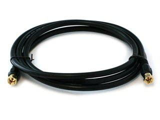 Product Image for Monoprice 6ft RG6 (18AWG) 75Ohm, Quad Shield, CL2 Coaxial Cable with F Type Connector - Black