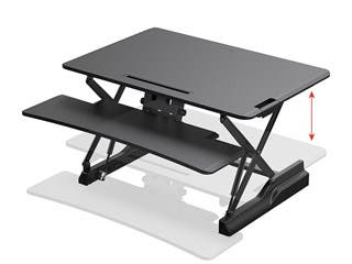 Product Image for Workstream by Monoprice Full-Size Sit-Stand Workstation Converter, Height Adjustable Desk 36in