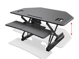 Product Image for Workstream by Monoprice Full-Size Sit-Stand Workstation Converter, Corner Desk 42in
