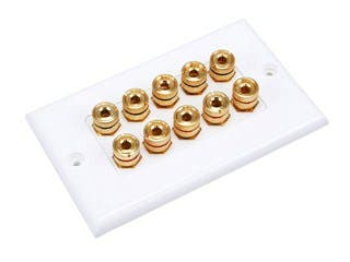 Product Image for High Quality Banana Binding Post Two-Piece Inset Wall Plate for 5 Speakers - Coupler Type