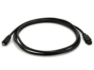 Product Image for Monoprice 9-pin/4-pin BILINGUAL FireWire 800/FireWire 400 Cable, 6ft Black