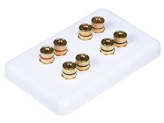 Product Image for Monoprice High Quality Banana Binding Post Wall Plate for 4 Speaker - Coupler Type