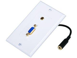 Product Image for VGA / 3.5mm Stereo Audio Wall Plate (Gold Plated)