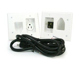 Product Image for Recessed Pro Power Kit w/Straight Blade Inlet White