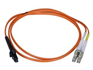 Product Image for Monoprice Fiber Optic Cable - MTRJ Female to LC, OM1, 62.5/125 Type, Multi Mode, Duplex, Orange, 1m