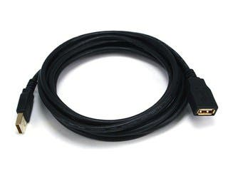 Product Image for USB-A to USB-A Female 2.0 Extension Cable - 28/24AWG, Gold Plated, Black, 10ft