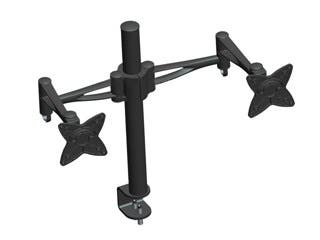 Product Image for Monoprice 3-Way Adjustable Tilting DUAL Desk Mount Bracket for 10~23in Monitors up to 33 lbs, Black