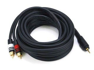 Product Image for 15ft Premium 3.5mm Stereo Male to 2RCA Male 22AWG Cable (Gold Plated) - Black