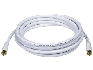 Product Image for Monoprice 10ft RG6 (18AWG) 75Ohm, Quad Shield, CL2 Coaxial Cable with F Type Connector - White