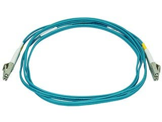 Product Image for 10Gb Fiber Optic Cable, LC/LC, Multi Mode, Duplex -  2 Meter (50/125 Type) - Aqua