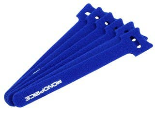 Product Image for Hook & Loop Fastening Cable Ties, 6-inch, 100pcs/pack, Blue