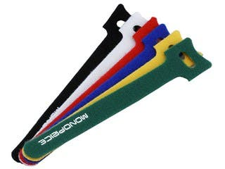 Product Image for Monoprice Hook and Loop Fastening Cable Ties, 6 in, 120 pcs/pack, 6 Colors