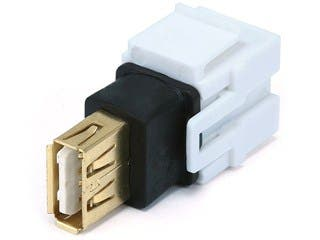 Product Image for Keystone Jack - USB 2.0 A Female to A Female Coupler Adapter, Flush Type (White)