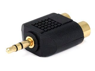 Product Image for 3.5mm TRS Stereo Plug to 2x RCA Jack Splitter Adapter, Gold Plated